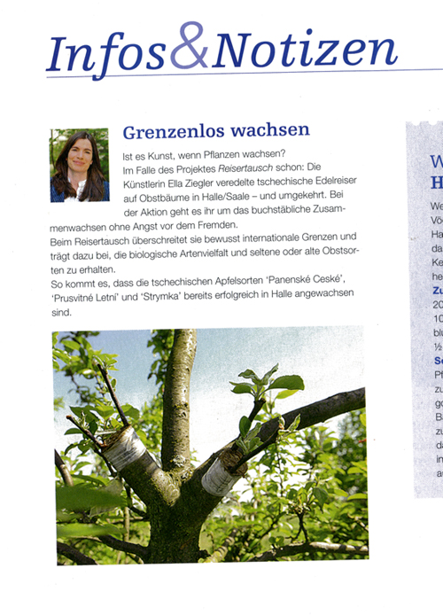 Über das Projekt Reisertausch berichtet die Unabhängige Bauernstimme und die Fachzeitschriften Obst & Gemüse und Kraut & Rüben. <em>Different garden magazines and the independent farmers magazin Unabhängige Bauernstimme informs about the project.</em>